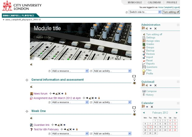 Screen shot of Moodle module page